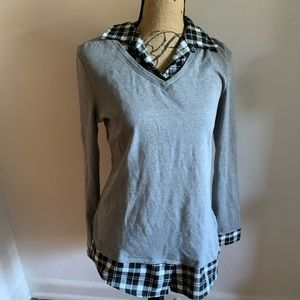 Hang Ten Sweaters - Sweater shirt gray plaid flannel top blouse layer